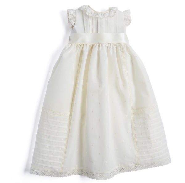 Cream Christening Gown with Satin Bow - CHRISTENING GOWN - PEPA AND CO