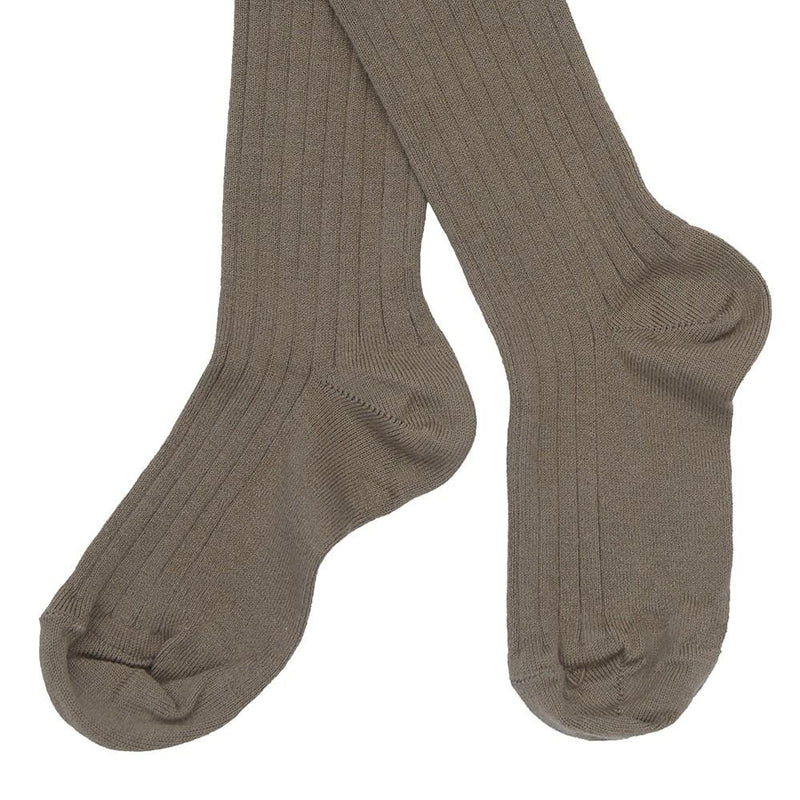Children's Ribbed Tights - Taupe