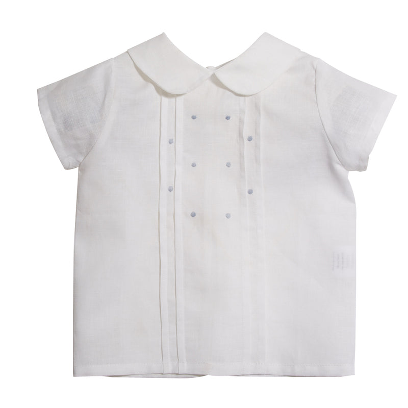 Classic Baby Boy Shirt White with Blue Dots - Shirt - PEPA AND CO