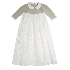 Traditional Christening gown cotton knitted top Light Grey - Celebration - PEPA AND CO