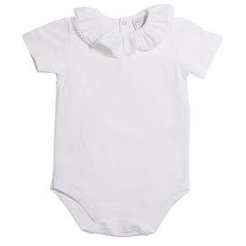 Classic Cotton Baby Bodysuit with White Frill Collar - Bodysuit - PEPA AND CO