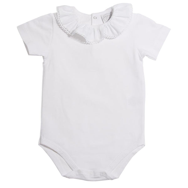 Classic Cotton Baby Bodysuit with White Frill Collar 7c22cffd7