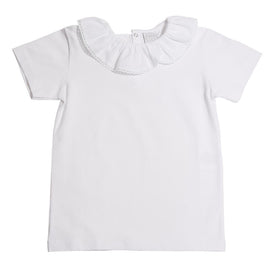 Top Frill Collar Lace Detail White - Top - PEPA AND CO