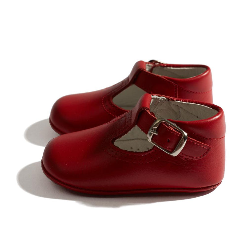 Leather T-bar Baby Pram Shoes Red