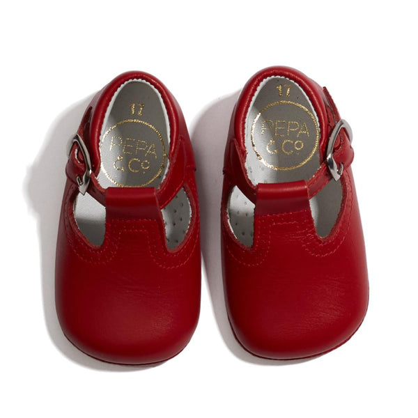 Baby Leather T-bar Pram Shoes Red