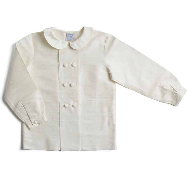 Boy's white double-breasted Peter Pan collar silk shirt