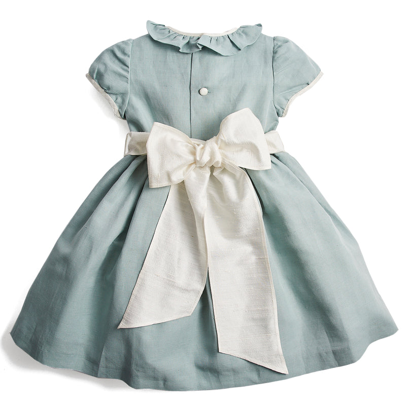Flower girl's occasion dress in teal with ivory sash