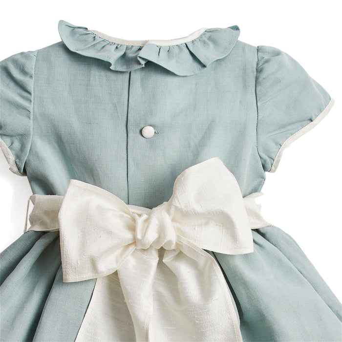Teal Flower Girl Occasion Dress with Ivory Sash - Dress - PEPA AND CO