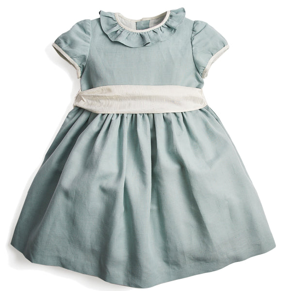 Flower girl's occasion dress in teal with ivory sash - Dress - PEPA AND CO