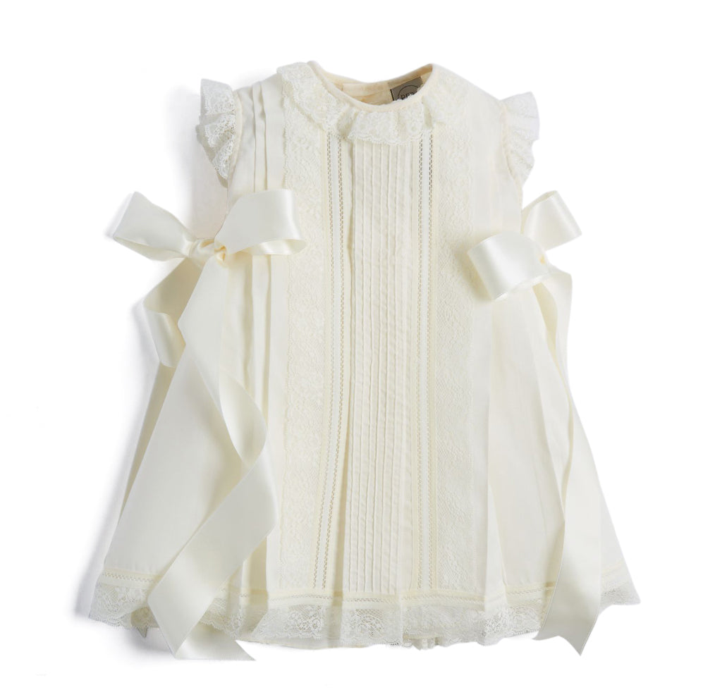 Cream Panelled Christening Gown - CHRISTENING GOWN - PEPA AND CO
