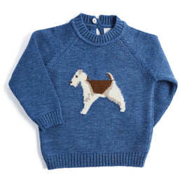 Blue Knitted Jumper with Dog Motif - KNITTED - PEPA AND CO