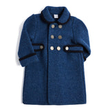 Blue Austrian Wool Coat with Navy Trim - COAT - PEPA AND CO