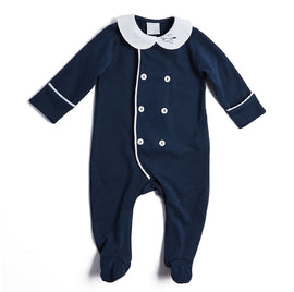 Newborn Navy All-in-One with Peter Pan Collar - NIGHTWEAR - PEPA AND CO