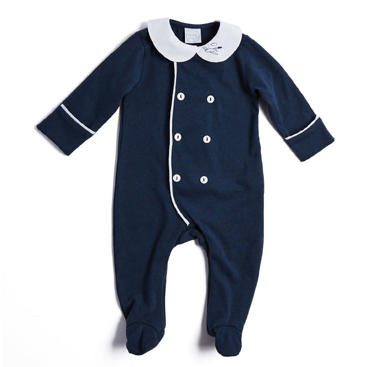 Navy All-in-One with Peter Pan Collar - NIGHTWEAR - PEPA AND CO