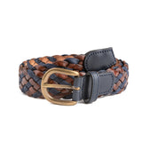Navy & Brown Leather Braided Belt - Belt & Braces - PEPA AND CO