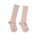 Light Pink Ribbed Knee-High Socks - Socks - PEPA AND CO