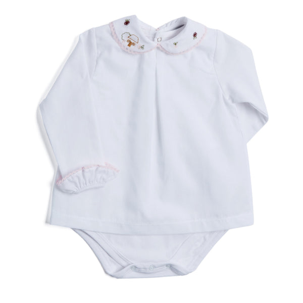 White Cotton Bodysuit with House Motif - BODYSUIT - PEPA AND CO