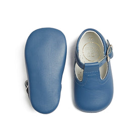 Baby Leather T-bar Pram Shoes French Blue