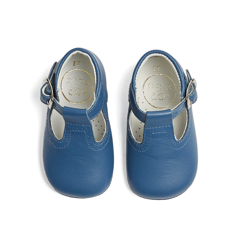 Leather T-bar Baby Pram Shoes French Blue