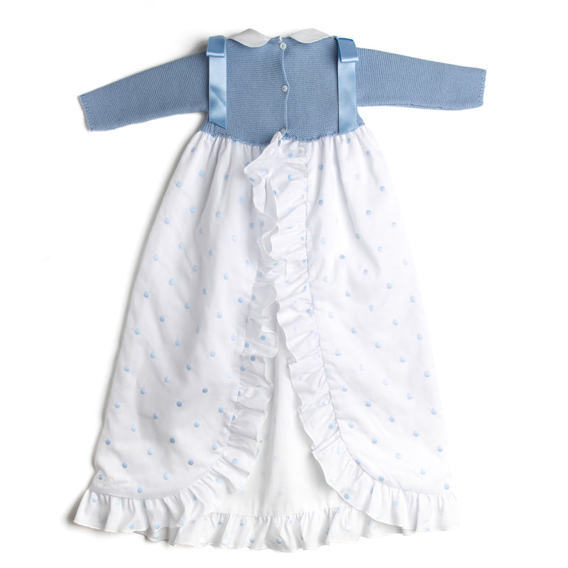 Blue Newborn Gown with Peter Pan Collar - Gown - PEPA AND CO