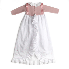 Pink Newborn Gown with Satin Detailing - Gown - PEPA AND CO