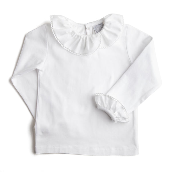 White Long-Sleeved Top with Frill Collar - TOP - PEPA AND CO