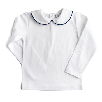 White Long-Sleeved Top with Navy Trim Peter Pan Collar - TOP - PEPA AND CO