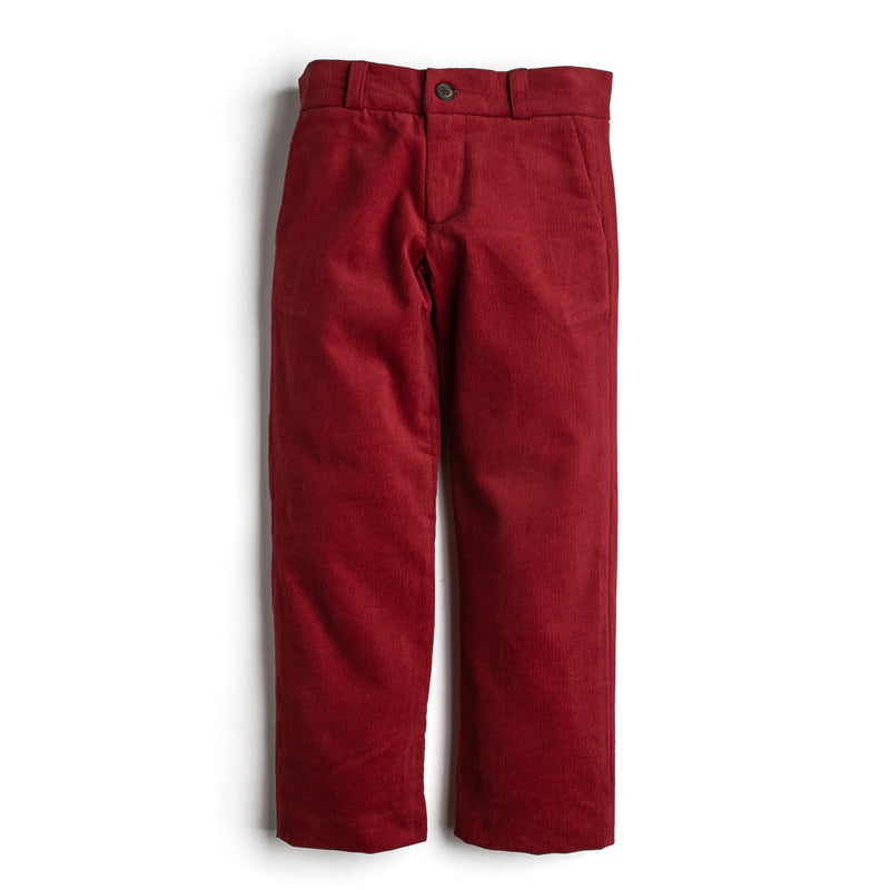 Boy Red Corduroy Trousers - Trousers - PEPA AND CO