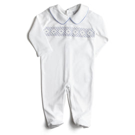 White All-In-One with Blue Handsmocked Embroidery - Nightwear - PEPA AND CO