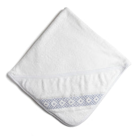 White Towel with Blue Handsmocked Details - Towel - PEPA AND CO