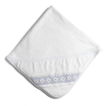 White Towel with Blue Handsmocked Details - Accessories - PEPA AND CO