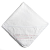 White Towel with Pink Handsmocked Details - Towel - PEPA AND CO
