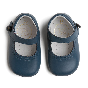 Mary Jane Blue Leather Pram Shoes - Shoes - PEPA AND CO