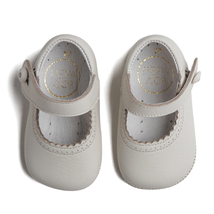 Mary Jane Ivory Leather Pram Shoes - Shoes - PEPA AND CO
