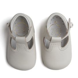 T-Bar Ivory Leather Pram Shoes - SHOES - PEPA AND CO
