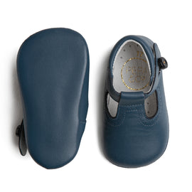 T-Bar Blue Leather Pram Shoes - Shoes - PEPA AND CO