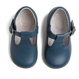T-Bar Blue Leather Baby Shoes - Shoes - PEPA AND CO