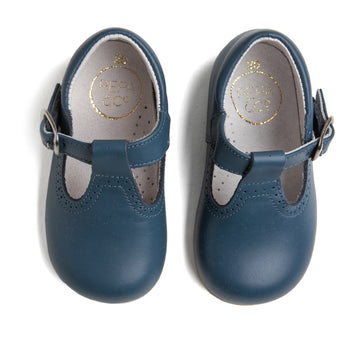 T-Bar Blue Leather Baby Shoes - T-BAR - PEPA AND CO