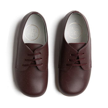 Leather Burgundy Lace-Up Shoes - SHOES - PEPA AND CO