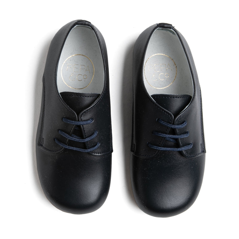 Leather Navy Lace-Up Shoes - SHOES - PEPA AND CO
