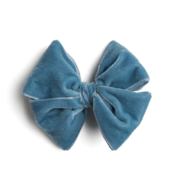 Velvet Blue Big Bow Clip - HAIR ACCESSORIES - PEPA AND CO