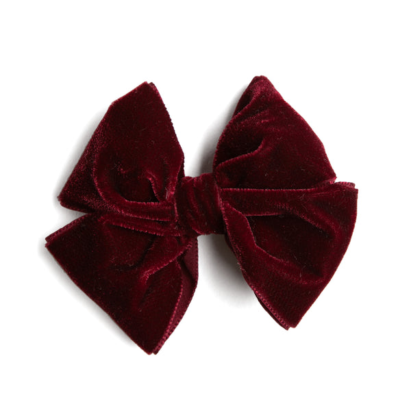 Velvet Burgundy Big Bow Clip - HAIR ACCESSORIES - PEPA AND CO