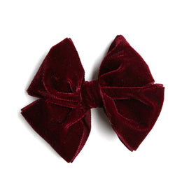 Burgundy Velvet Big Bow Clip - Hair Accessories - PEPA AND CO