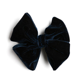 Velvet Navy Big Bow Clip - HAIR ACCESSORIES - PEPA AND CO