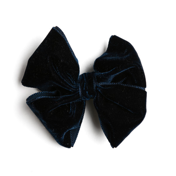 Navy Velvet Big Bow Clip - Hair Accessories - PEPA AND CO