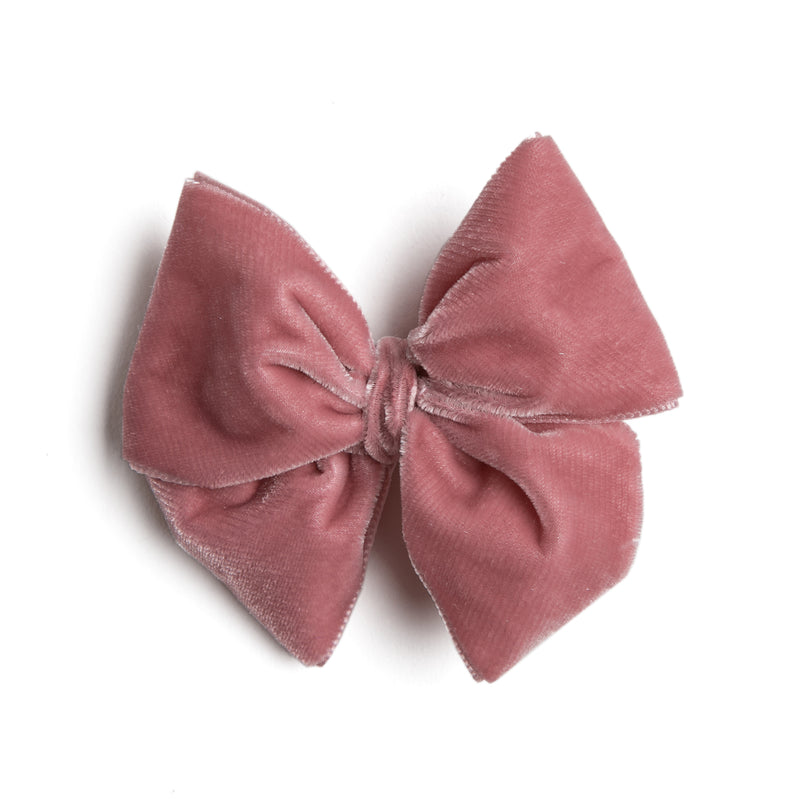 Velvet Pink Big Bow Clip - HAIR ACCESSORIES - PEPA AND CO