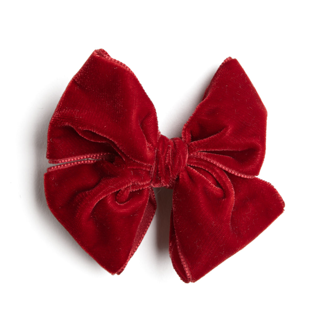 Velvet Red Big Bow Clip - HAIR ACCESSORIES - PEPA AND CO