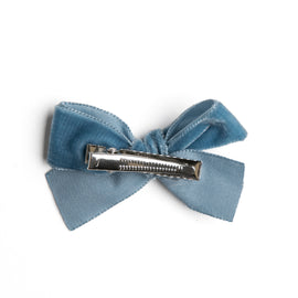 Velvet Blue Medium Bow Clip - HAIR ACCESSORIES - PEPA AND CO