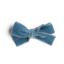 Blue Velvet Small Bow Clip - Hair Accessories - PEPA AND CO