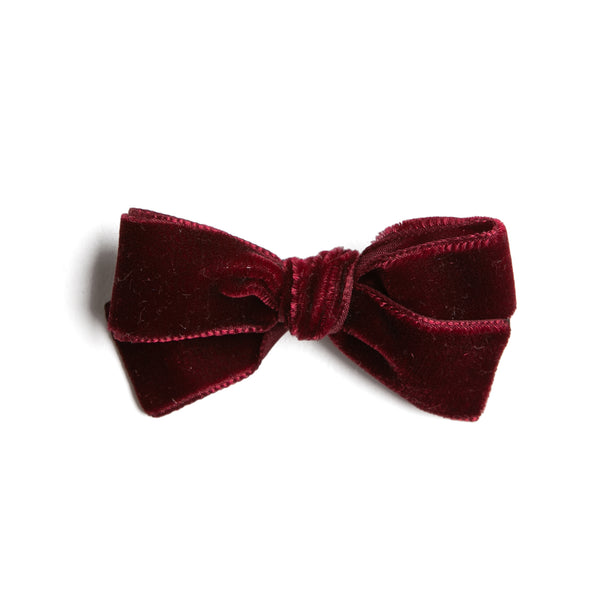 Burgundy Velvet Small Bow Clip - Hair Accessories - PEPA AND CO